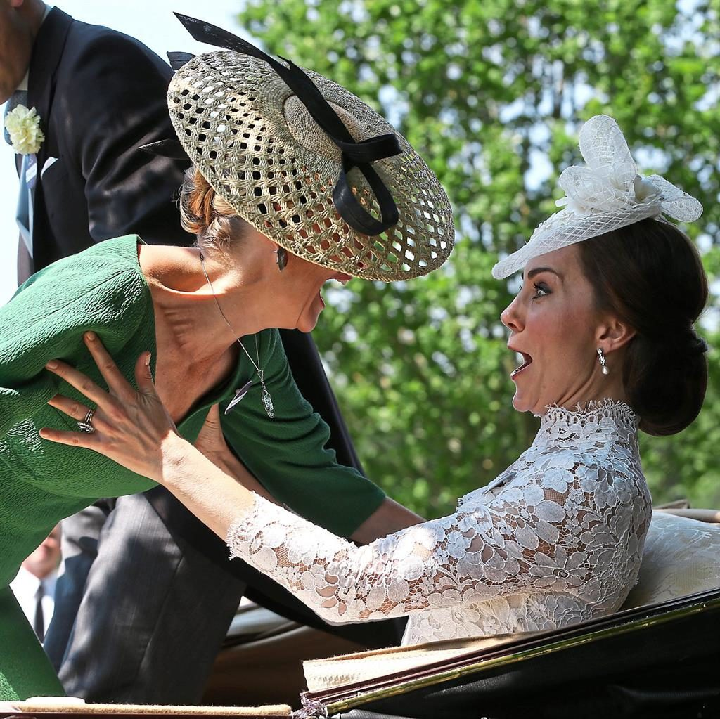 Good to firm: Kate managing to steady Sophie yesterday  PICTURES: JASONPIX/GETTY/PA