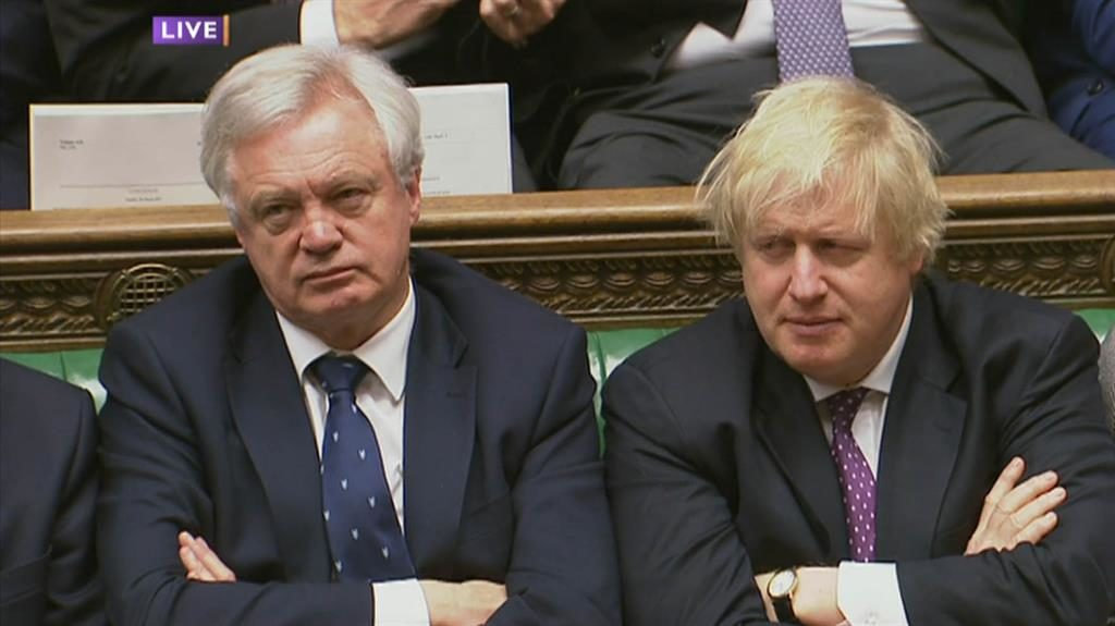 Sharp elbows: Brexit secretary David Davis and foreign secretary Boris Johnson