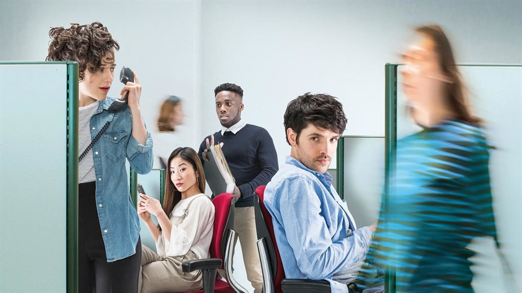 Back-stabbers: Colin Morgan (far right) plays Dean, surrounded by acid-tongued co-workers