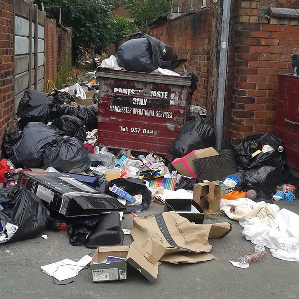 Piled up: Waste in Fallowfield PICTURE: MERCURY