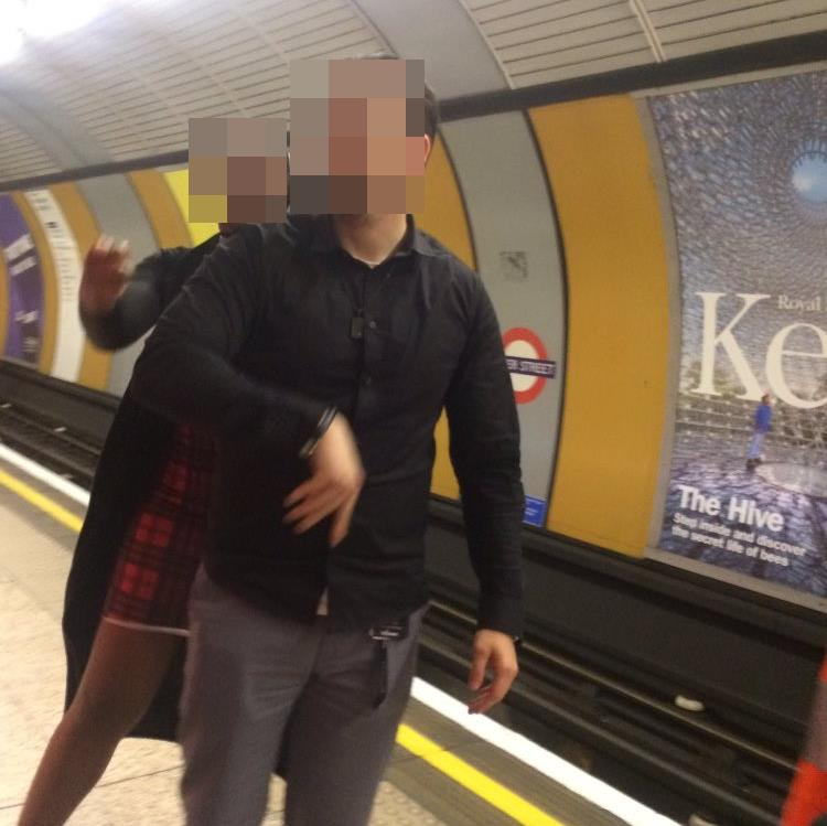 Hate crime: The tweeted image of the alleged attack at the Tube station