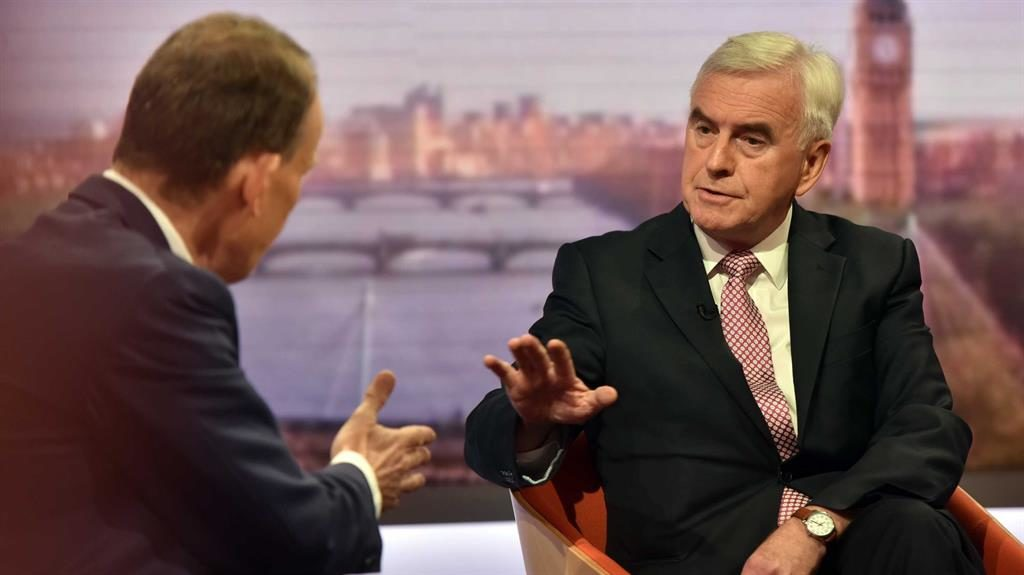 'Scandal': John McDonnell (right) tells Andrew Marr that 'political decisions resulted in deaths' PICTURE: BBC