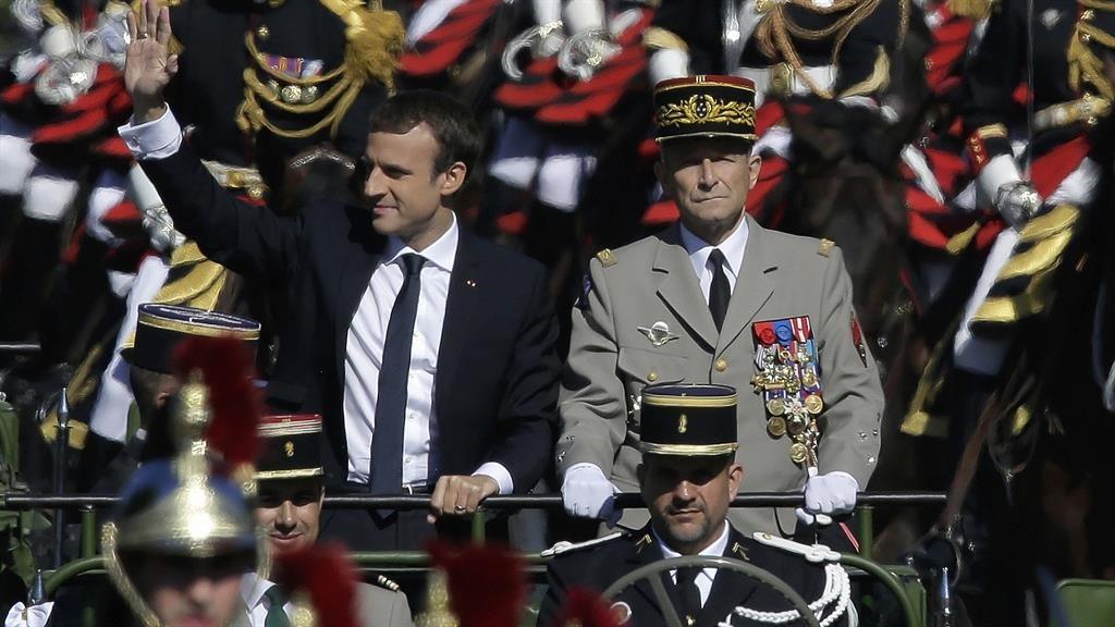 Grievances on parade: Emmanuel Macron with General Pierre de Villiers at last week's Bastille Day celebrations PICTURE: AP
