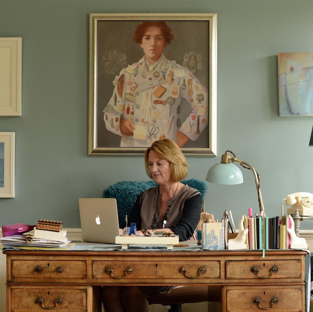 Studious: Annemarie Neary at her desk in the study she shares with her husband