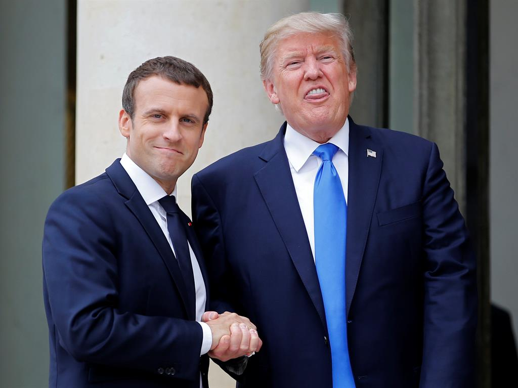 Trump caught on tape complimenting Macron's wife's body