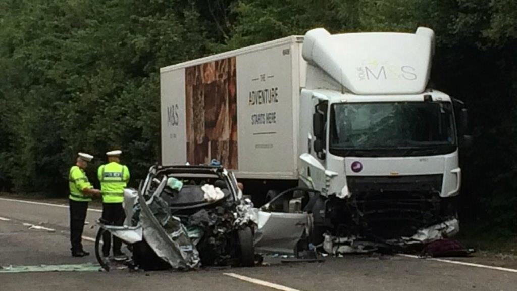 Tragic: The wreckage of the crash on the North Devon link road