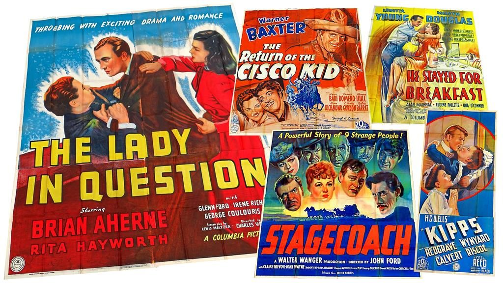 Classic Wartime Movie Posters Used As Cinema Carpet Underlay To Be Sold