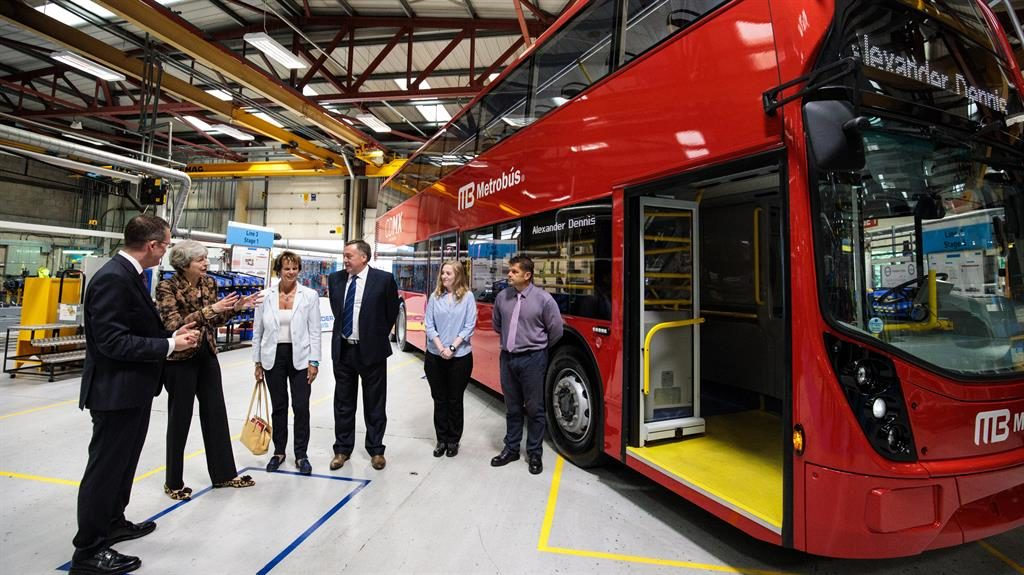 On the buses: Theresa May chats to staff at Alexander Dennis in Guildford yesterday PICTURE: GETTY