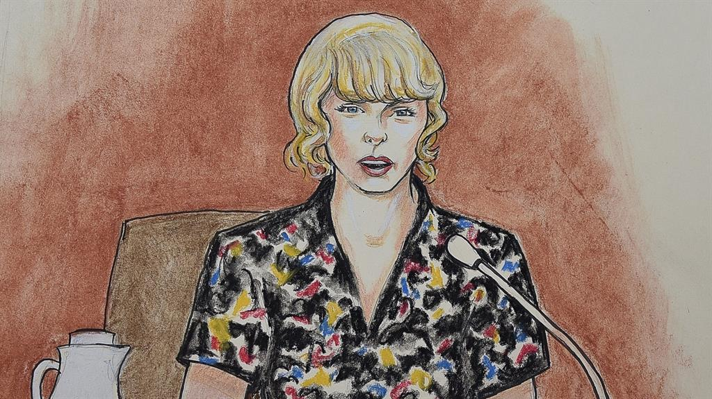 Testify An artist's drawing of Swift taking the stand in court
