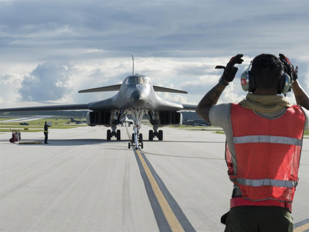 Ready for action A US Air Force B-1B Lancer arrives at Andersen Air Force Base Guam