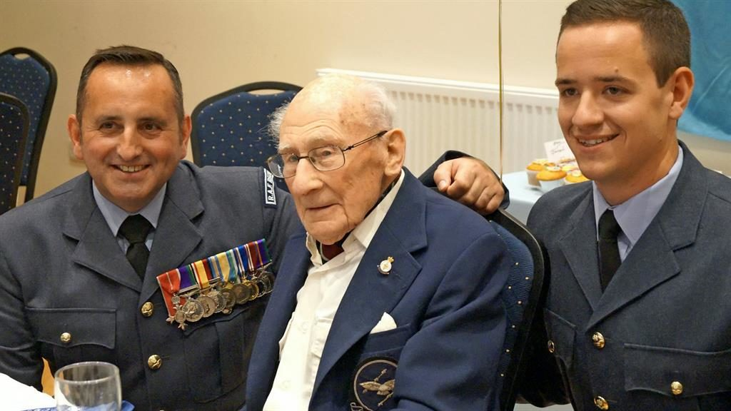 Survivor: Jack Lyon celebrated his 100th birthday with RAF personnel