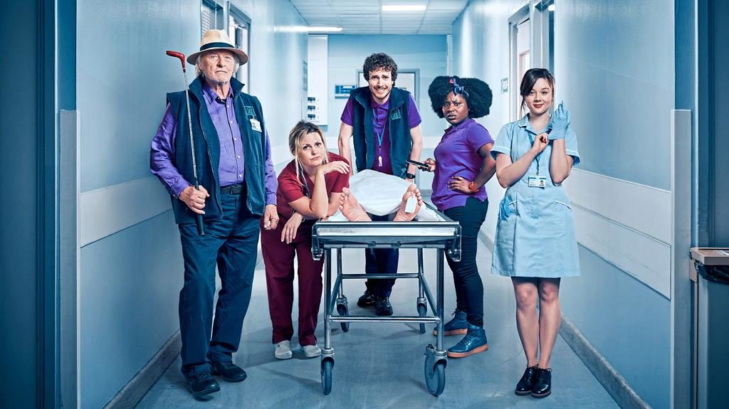 Off their trollies: The Porters cast includes, from left, Rutger Hauer, Jo Joyner, Ed Easton, Susan, Wokoma and Claudia Jessie