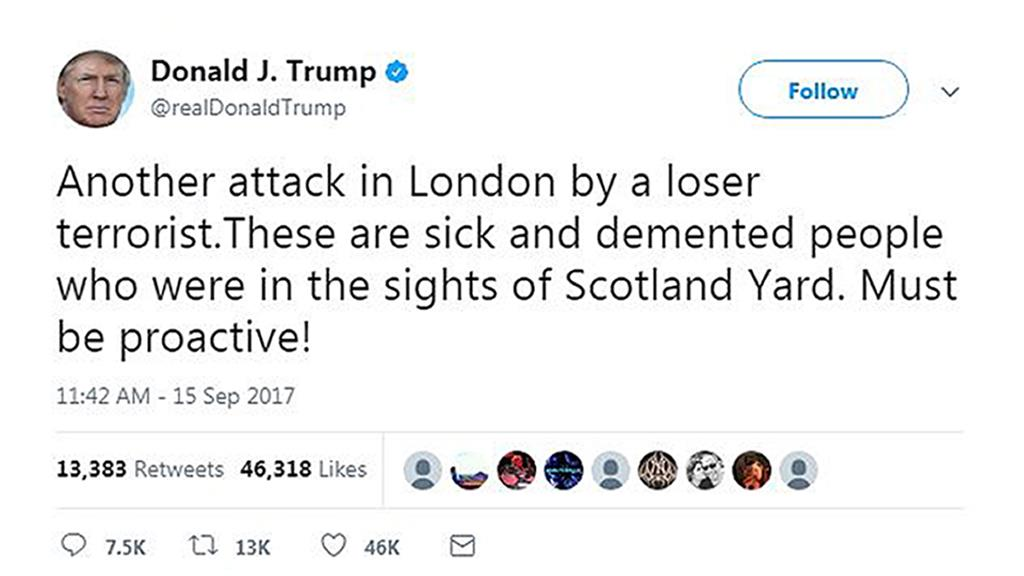 Citing London terrorist attack, Trump calls for expansion of his travel ban