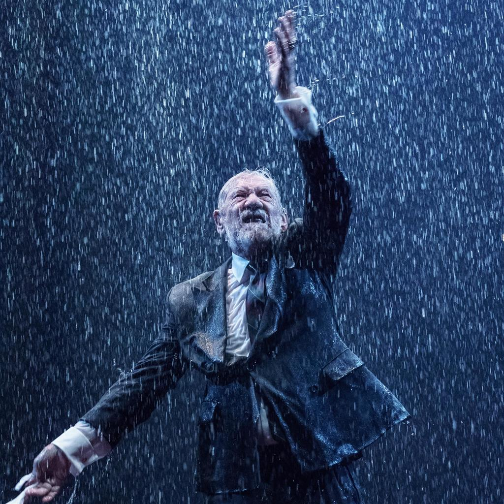 Cling Lear: Ian McKellen is saturated in his suit as King Lear PICTURES: MANUEL HARLAN