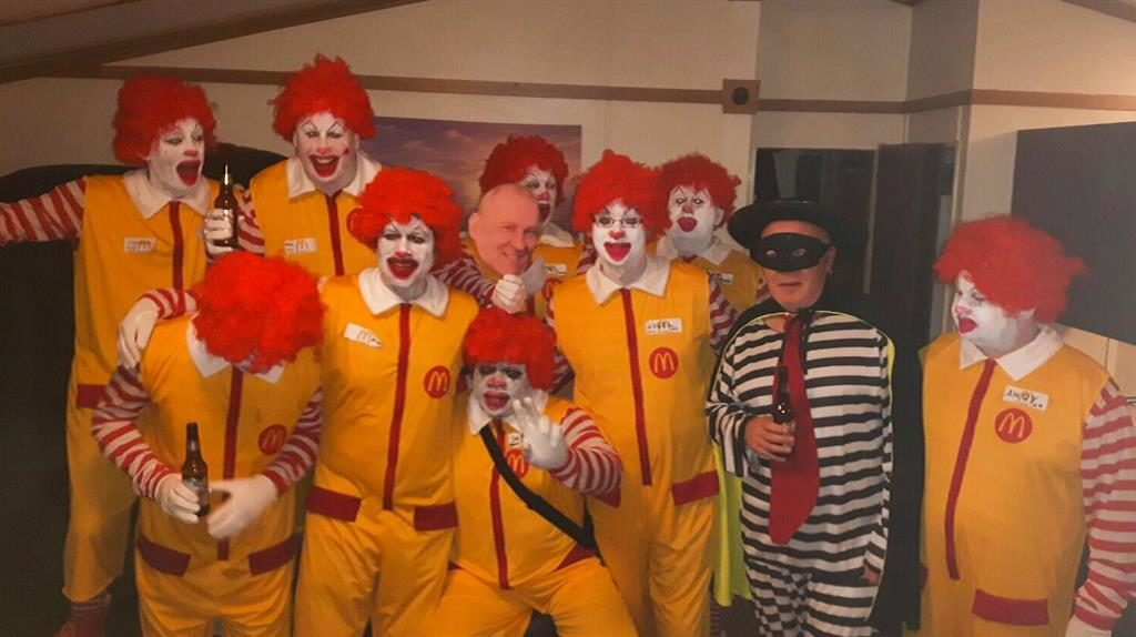 Cheesy: The gang dressed as Ronald McDonald and The Hamburglar PICTURE: MERCURY PRESS