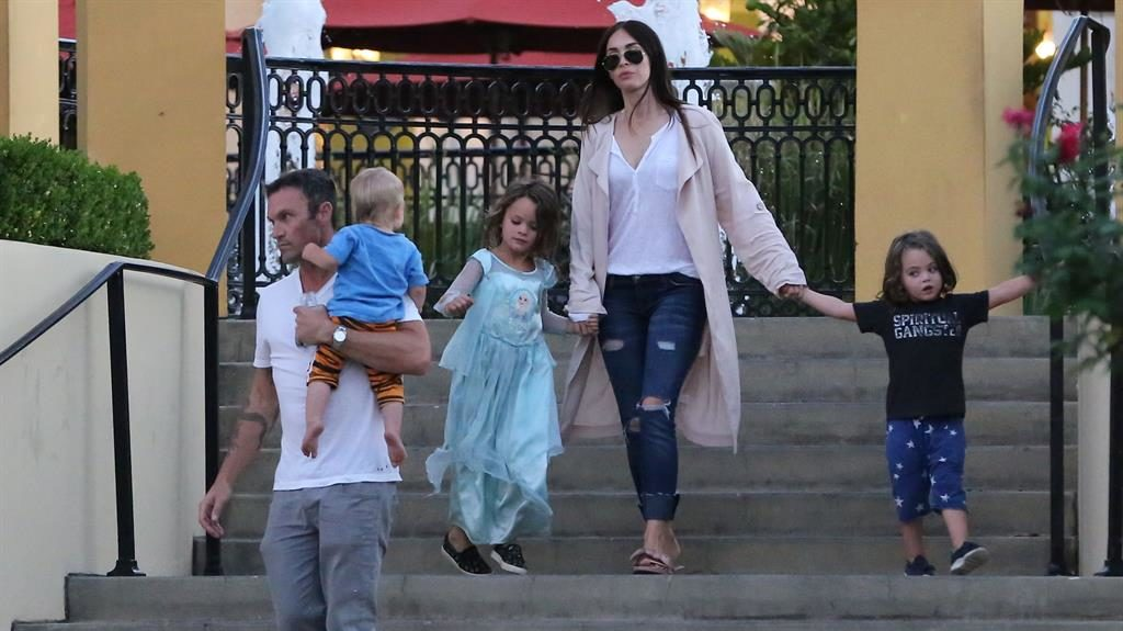 Taking it in her stride: Megan and Brian on a day out with Noah, Bodhi and Journey