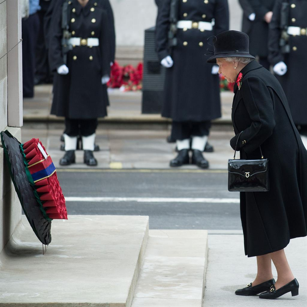 Tribute: The Queen at the Cenotaph for the ceremony in 2014 PIC: REX