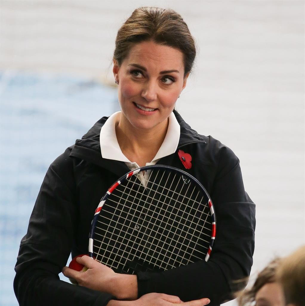 Match pointers: The Duchess of Cambridge listens to a coach PICTURE: PA