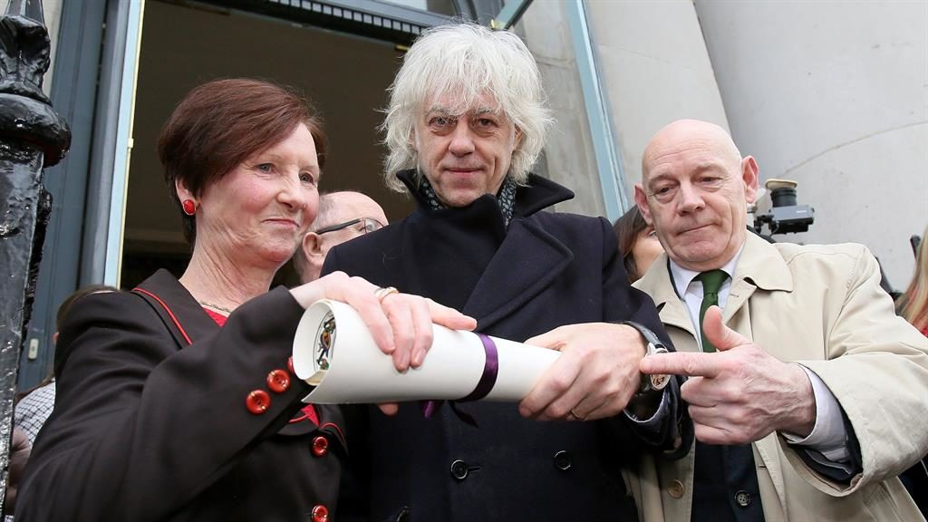 Scroll back: Geldof at Dublin city hall PICTURE: GETTY
