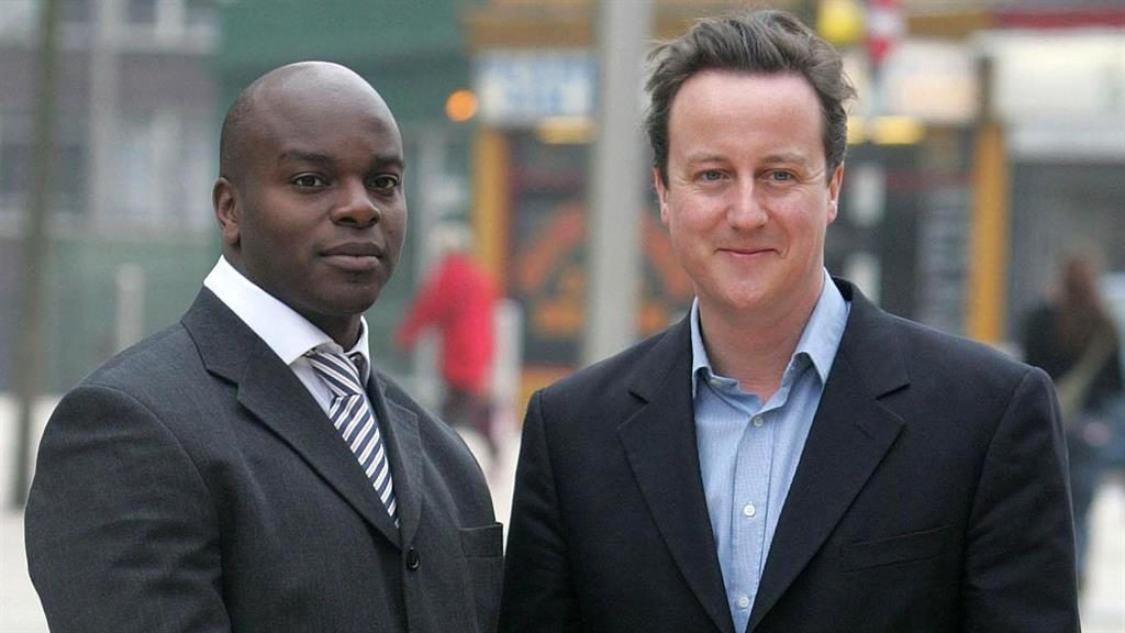Online 'slur': Shaun Bailey with David Cameron in 2007. He said Emma Dent Coad's blog about him 'trying to fit in' was 'hate-filled'
