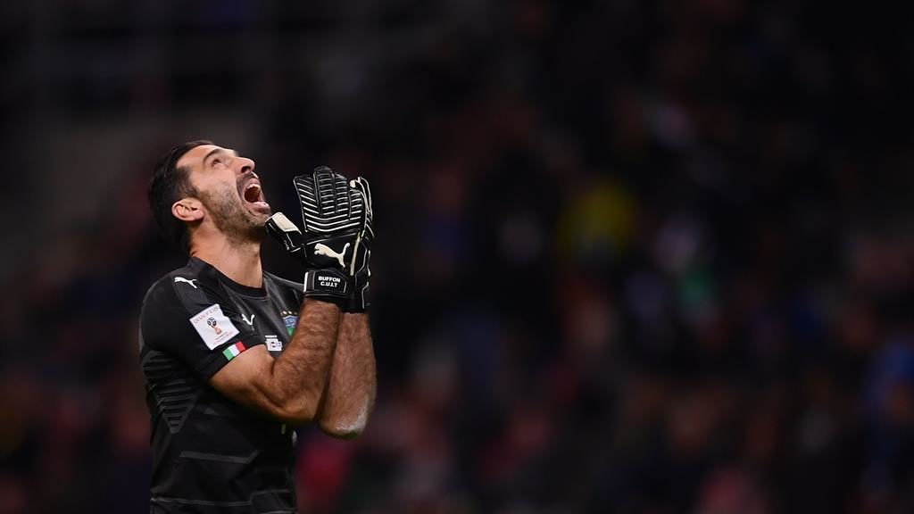 End game: Buffon reacts after the goalless draw against Sweden