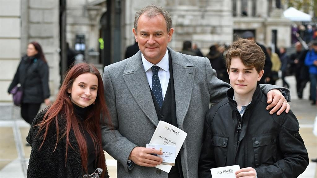Fans: Stars of the Paddington movie Madeleine Harris, Hugh Bonneville and Samuel Joslin attended the memorial PICTURES: PA