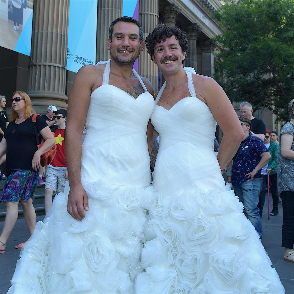 from Reed gay men in wedding dresses