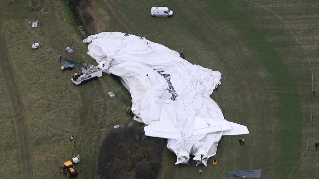 World's largest aircraft breaks into two and collapses in UK