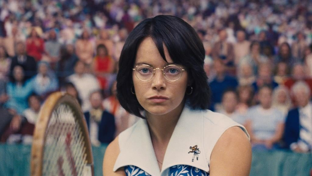 High stakes: Emma Stone plays Billie Jean King taking on a male ex-Wimbledon champ in Battle Of The Sexes PICTURE: REX