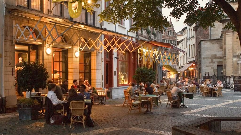 Famous: Alfresco eating in Antwerp's old town PICTURE: ALAMY