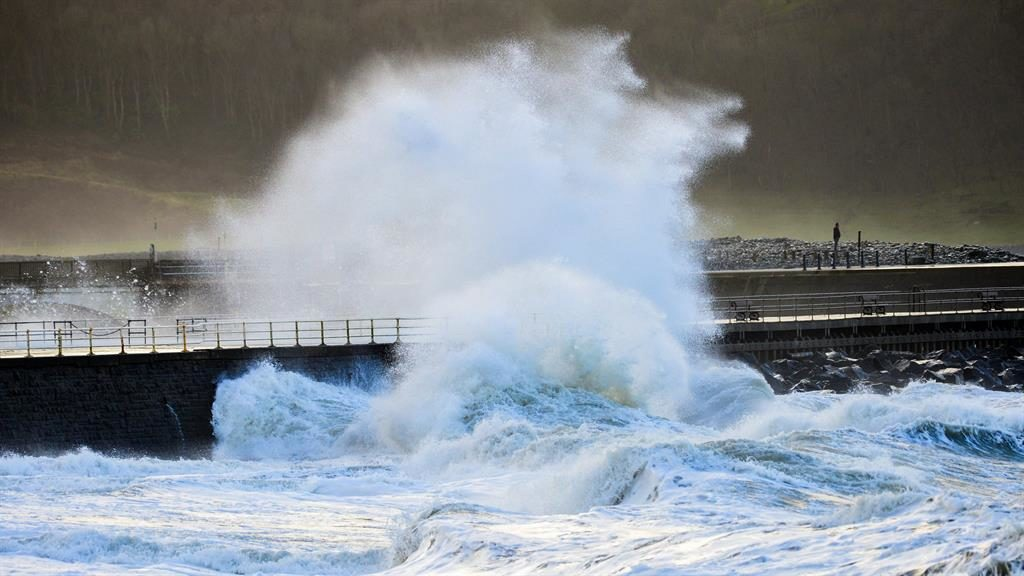 Here it is then: Aberystwyth in Ceredigion was one of the first parts of the UK to feel the effects of the storm PICTURE: PA
