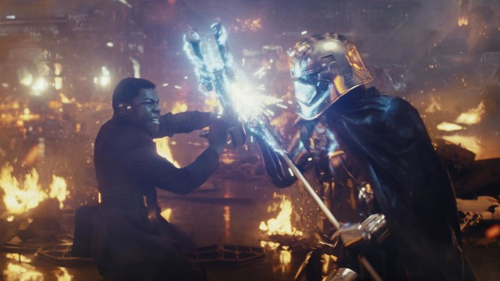 Sparks fly: Finn feels the force of Captain Phasma's combat style