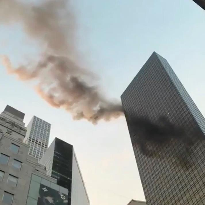 Watch as roaring fire rips through Trump Tower in NY