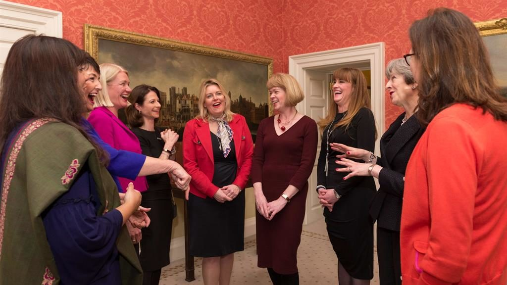 May's mates: The PM with some of the women on her team including, from left Nusrat Ghani, Jo Churchill, Amanda Milling, Seema Kennedy, Mims Davies, Wendy Morton, Kelly Tolhurst and Rebecca Harris