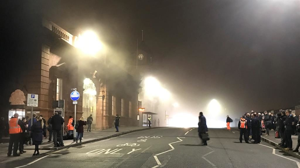 Trains to Nottingham delayed after huge fire breaks out at station
