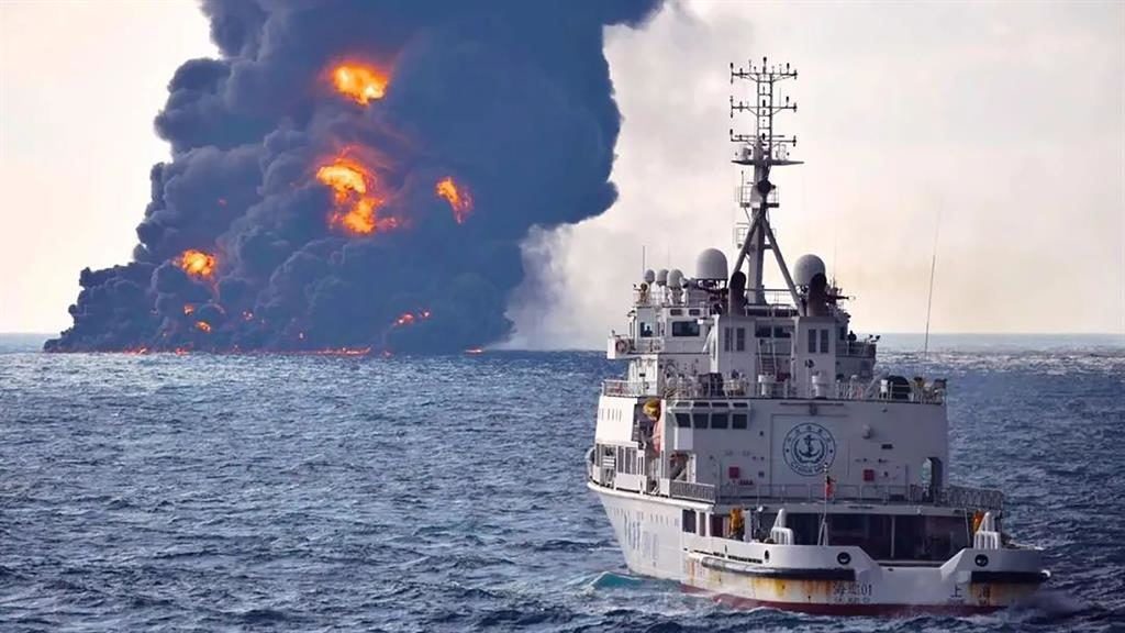 Ablaze The Sanchi off the coast of China. It sank yesterday