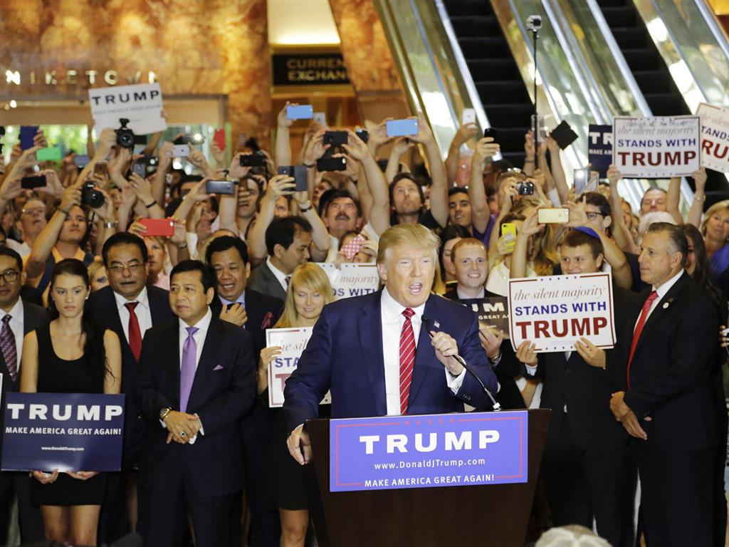 On home ground Donald Trump holds a news conference in the lobby of Trump Tower on the presidential campaign trail last year