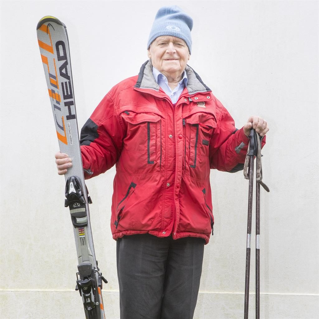 Unparalleled: Britain's oldest skier George Stewart PICTURES: SWNS
