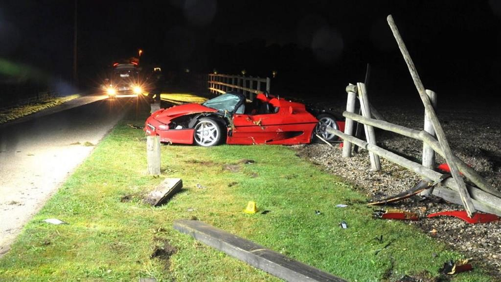 Wreckage: The £1.2million car flipped into the air after hitting a fence post PICS: SOLENT NEWS
