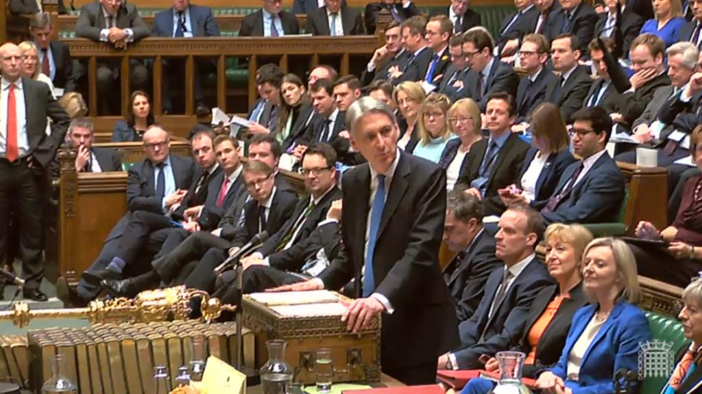 Upbeat Mr Hammond in the Commons