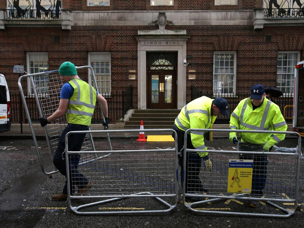 Crowd control Workers at the private Lindo Wing yesterday