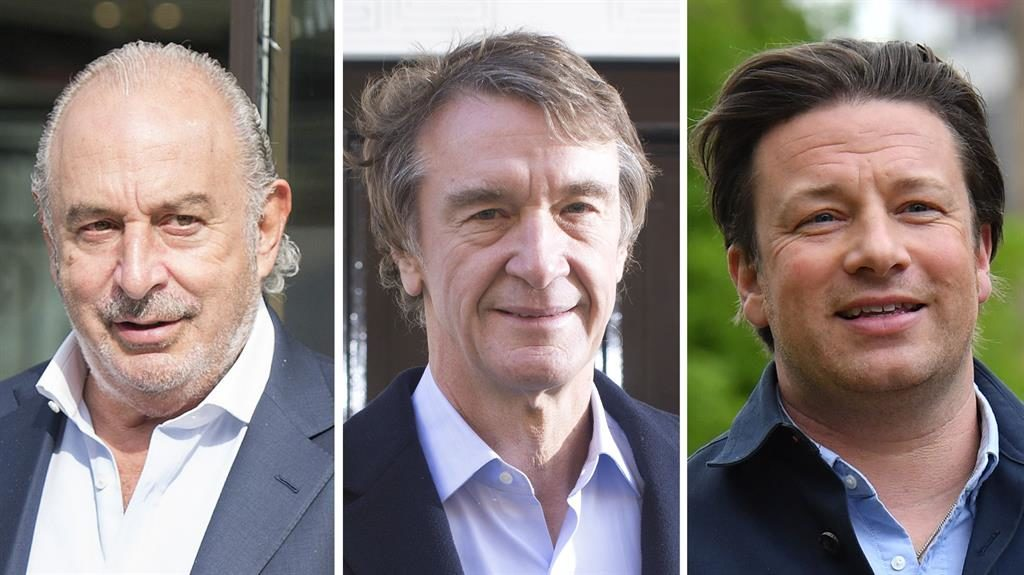 Ups and downs: (l-r) Sir Philip Green, Ineos boss Jim Ratcliffe and TV chef Jamie Oliver PICS: REX/AFP