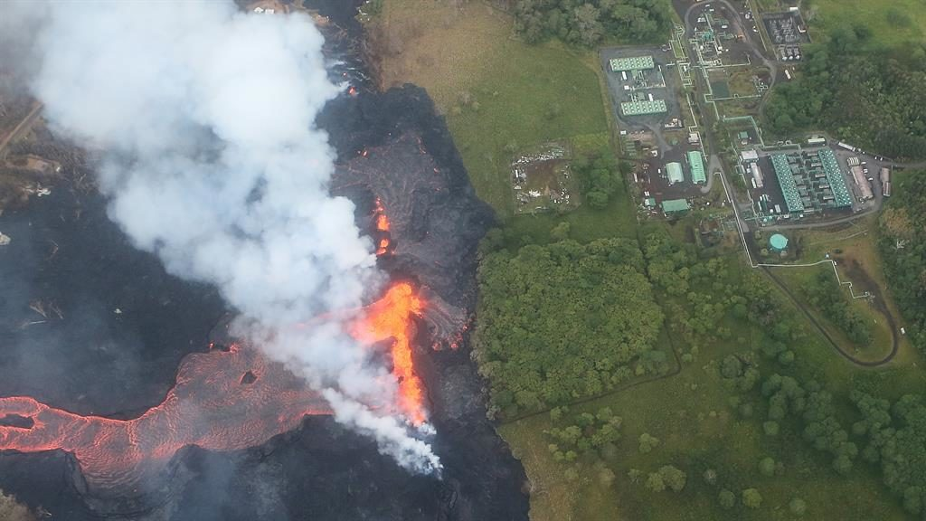 Toxic Hawaii volcano spews lava next to a geothermal plant