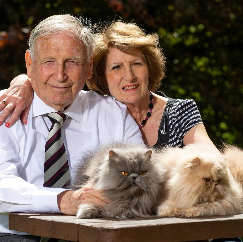 Purrfect ending: Trevor and Marlene Howes who have just married for a second time. Below, getting wed in 1968 PICTURES: SWNS