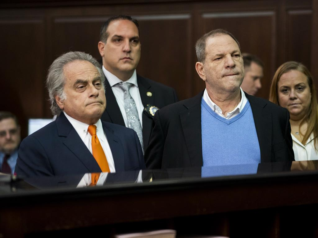 Charged Weinstein stands in court with his attorney Benjamin Brafman