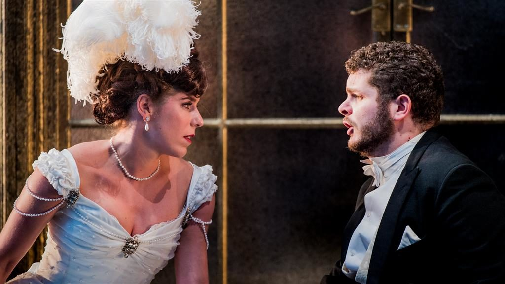 Touching: Consumptive courtesan Violetta (Lauren Fagan) with besotted Alfredo (Matteo Desole) PICTURES: ROBERT WORKMAN