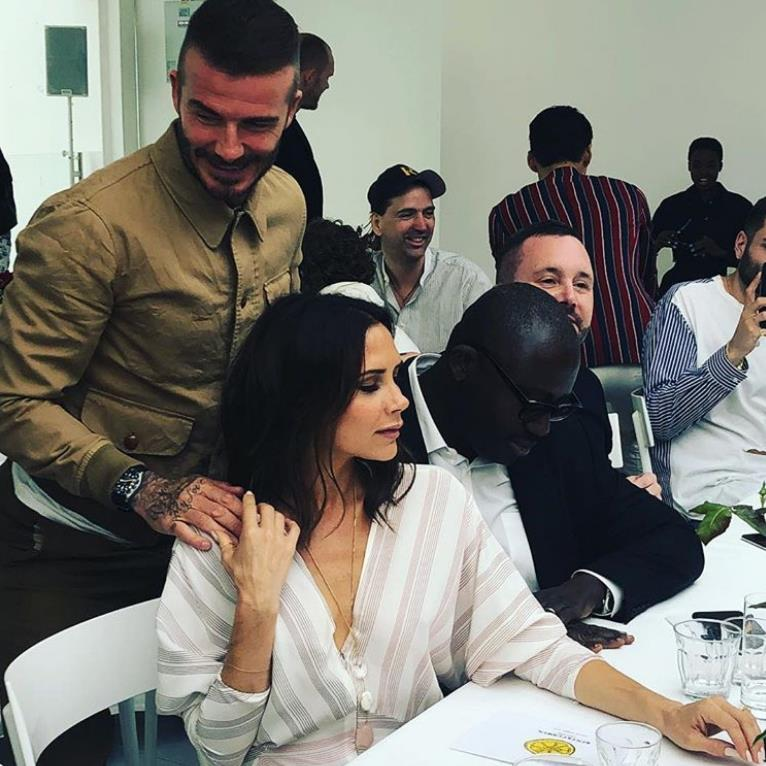 Hand in hand The Beckhams with Vogue's Edward Enninful