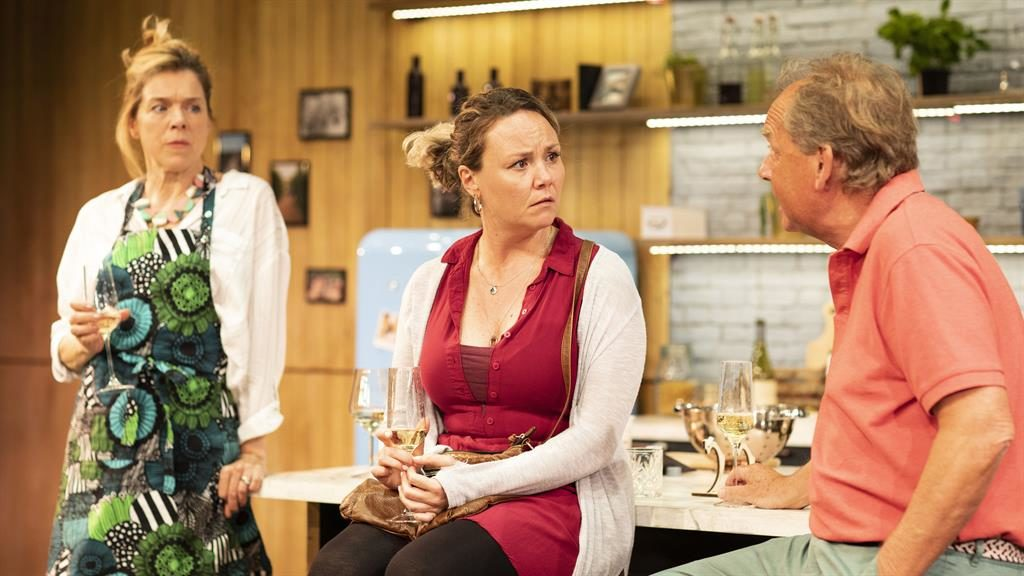 Stacks of energy: Janie Dee, Charlie Brooks and Patrick Ryecart in Monogamy at the Park Theatre PICTURE: HELEN MAYBANKS
