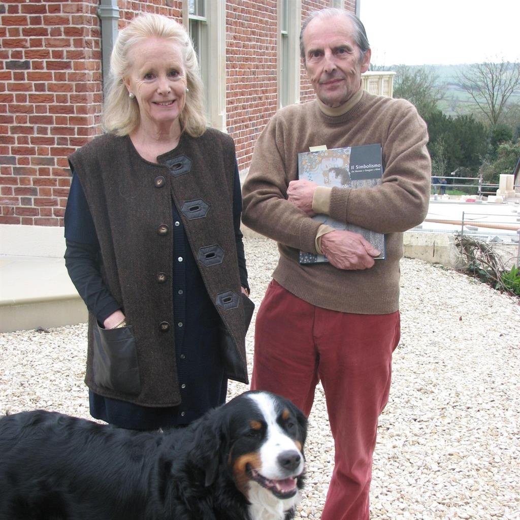 Cider dynasty: Susie and Esmond Bulmer, who were on holiday at the time of the burglary, with dog Echo, who was at the mansion with a house-sitter PICS: PA