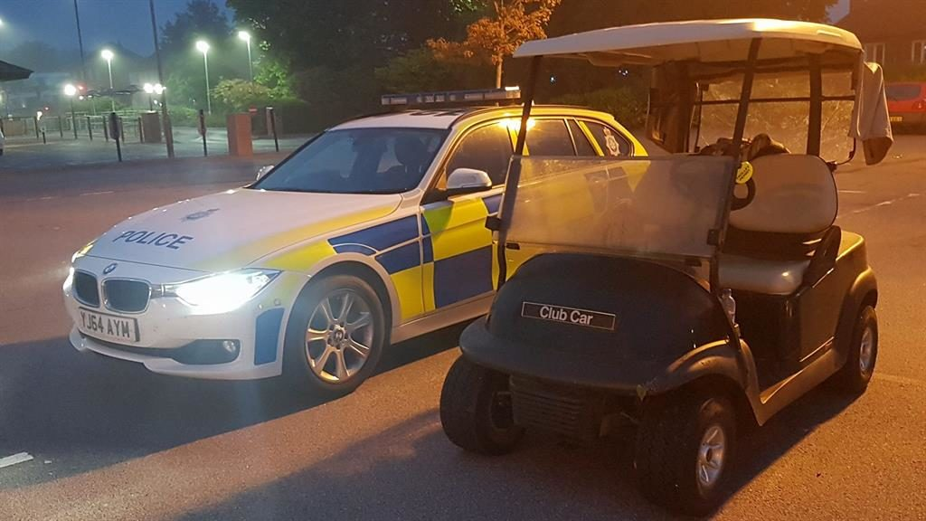 'Unusual': Police posted a picture of the golf buggy (above) that Jamie Elliot (below) had been driving PICS: PA